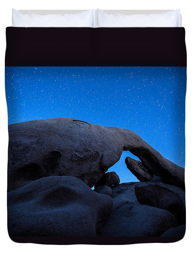America Duvet Cover featuring the photograph Arch Rock Starry Night 2 by Stephen Stookey