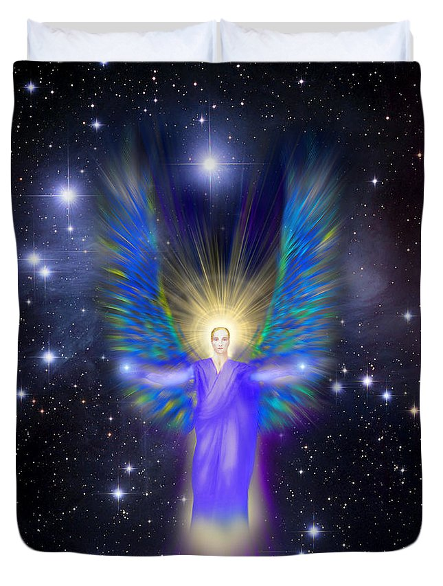 Endre Duvet Cover featuring the digital art Archangel Michael by Endre Balogh