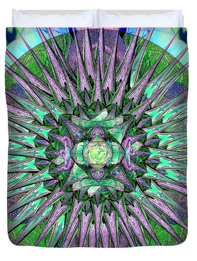 Archangels Duvet Cover featuring the digital art Archangels Gather Mandala by Michele Avanti