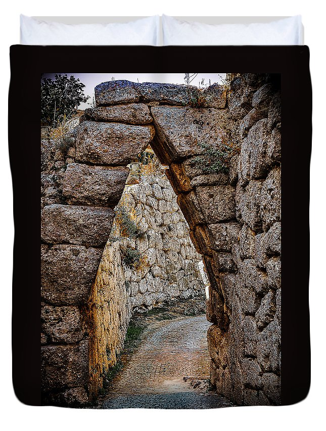Medieval Duvet Cover featuring the photograph Arched Medieval Gate by Dany Lison