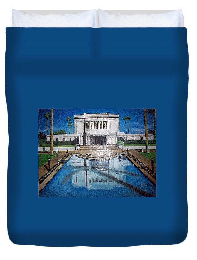 Duvet Cover featuring the painting Architectural Landscape by Jude Darrien