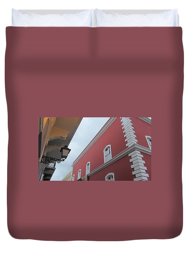 Architecture Duvet Cover featuring the photograph Architecture And Lantern 2 by Anita Burgermeister