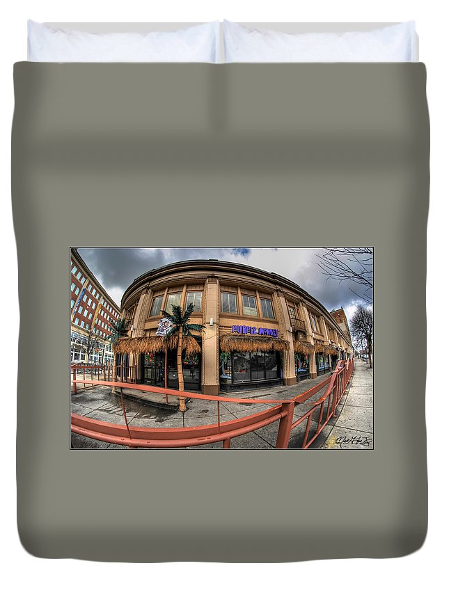 Architecture Duvet Cover featuring the photograph Architecture And Places In The Q.c. Series Purple Monkey by Michael Frank Jr