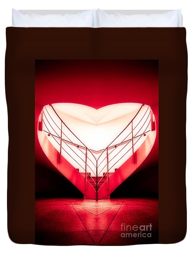 Architecture Duvet Cover featuring the photograph architecture's valentine - redI by Hannes Cmarits