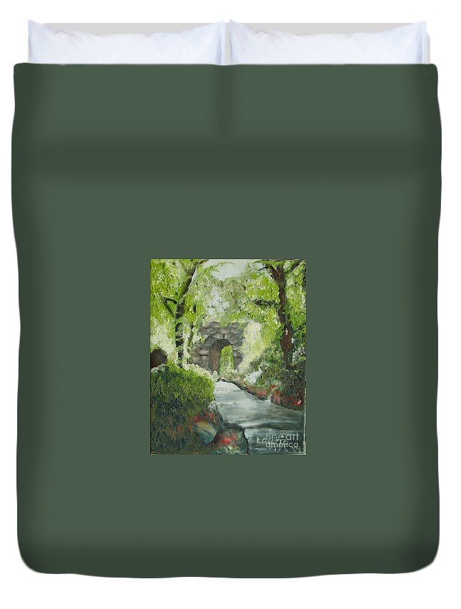 New York Duvet Cover featuring the painting Archway In Central Park by Laurie Morgan