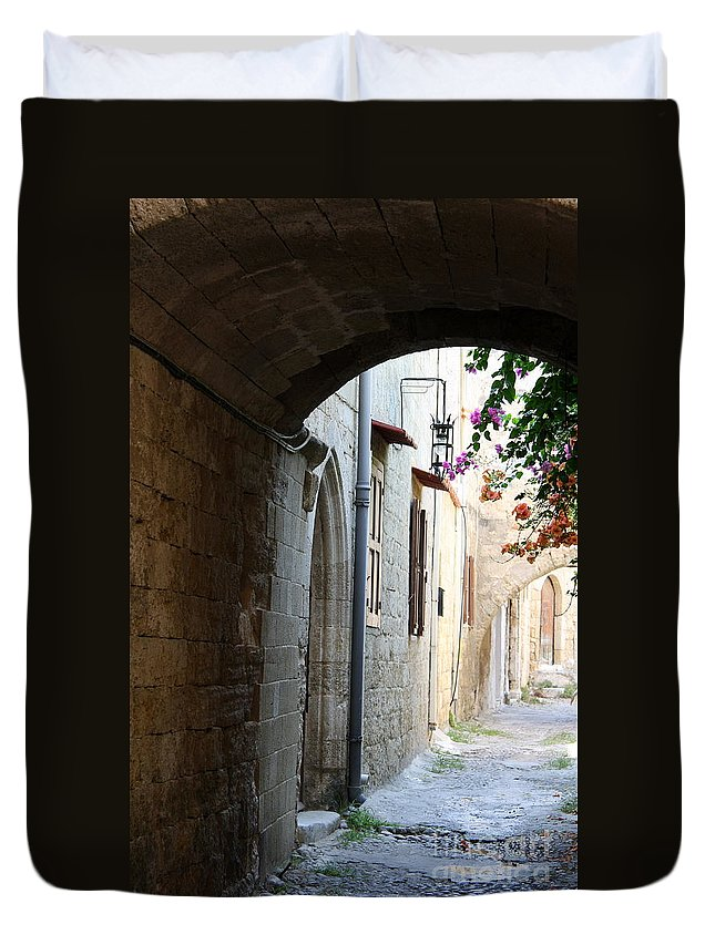 Arch Duvet Cover featuring the photograph Archway Rhodos City by Christiane Schulze Art And Photography