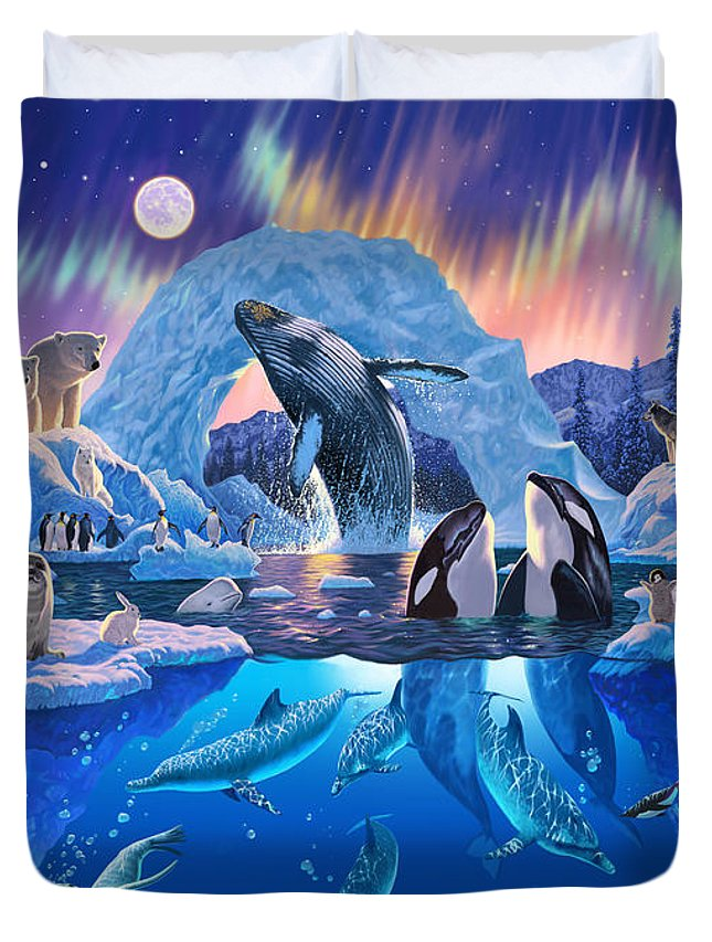 Animal Duvet Cover featuring the photograph Arctic Harmony by MGL Meiklejohn Graphics Licensing