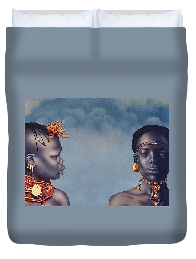 Airbrush Duvet Cover featuring the painting Are You Listening To Me by Greg Kopriva