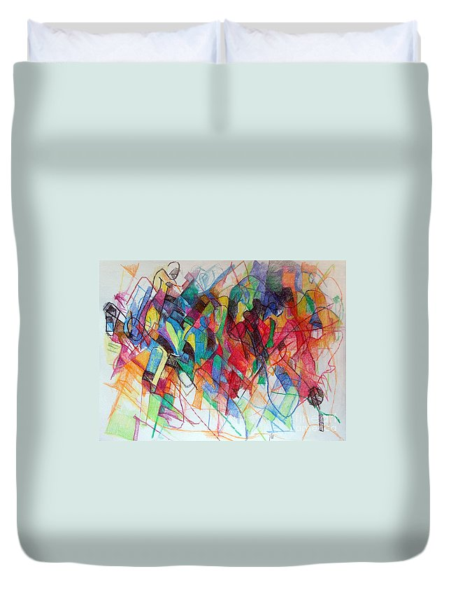 Torah Duvet Cover featuring the drawing Elul 2 by David Baruch Wolk