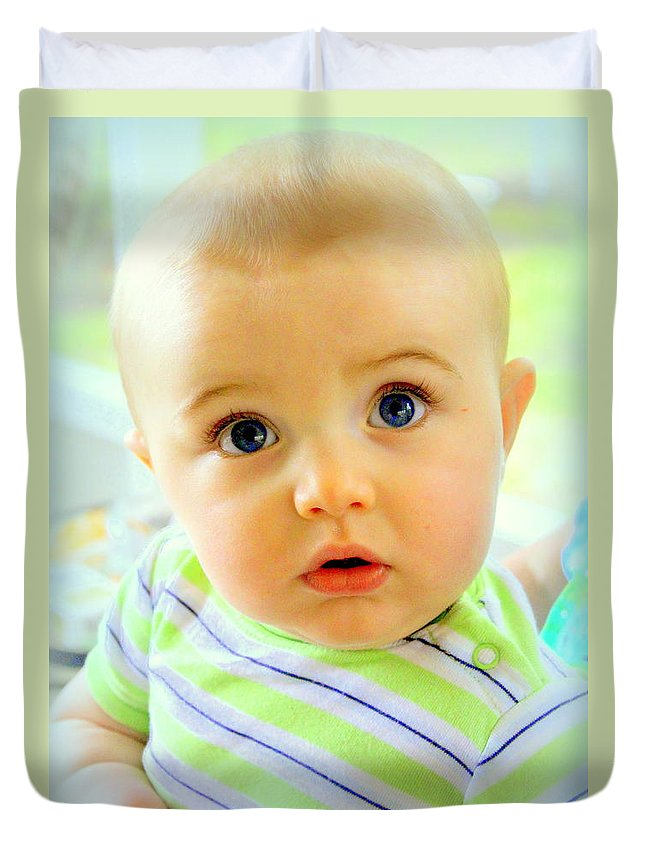 Baby Duvet Cover featuring the photograph Are You Talking To Me by Faith Williams