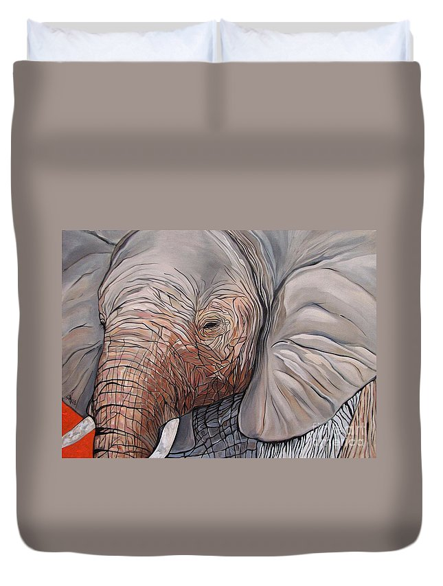 Elephant Bull Painting Duvet Cover featuring the painting Are You There by Aimee Vance