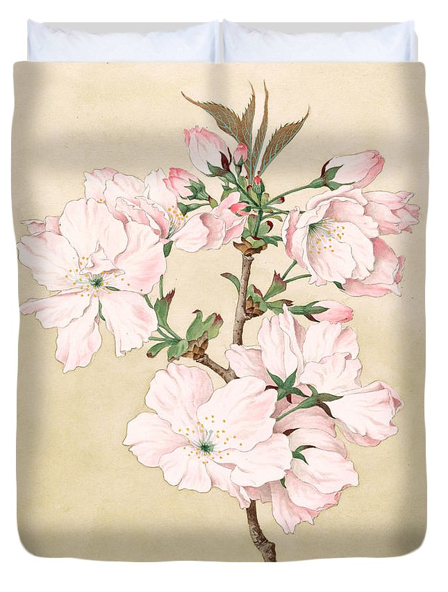 Japan Duvet Cover featuring the painting Ariake - Daybreak - Vintage Japanese Watercolor by Just Eclectic