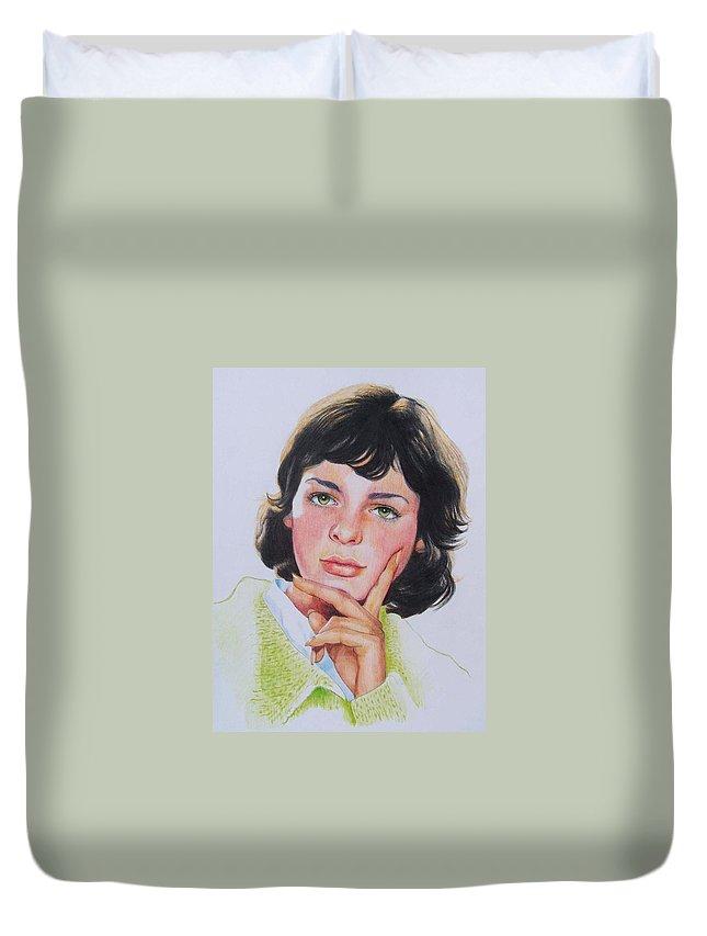 Portrait Duvet Cover featuring the mixed media Ariane by Constance Drescher