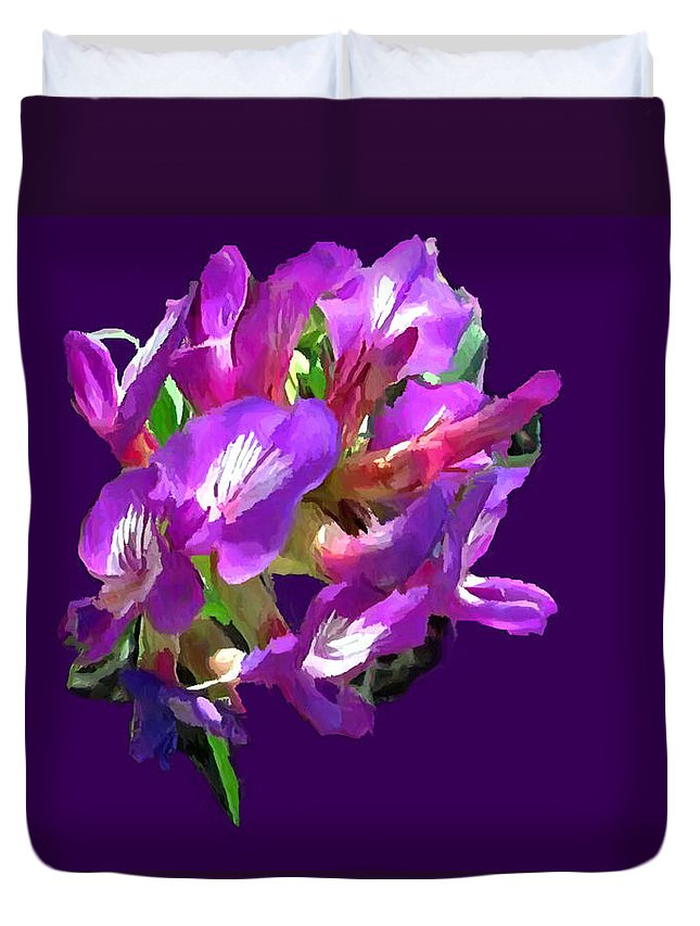 Acrylic Duvet Cover featuring the painting Arizona Desert Flowers by Bob and Nadine Johnston
