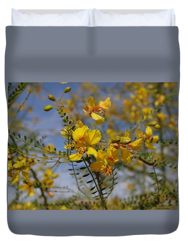 Tree Duvet Cover featuring the photograph Arizona Gold by Jamie Ramirez