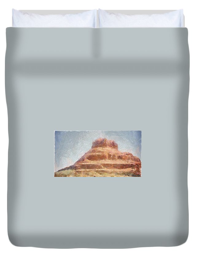 United States Of America Duvet Cover featuring the painting Arizona Mesa by Jeffrey Kolker