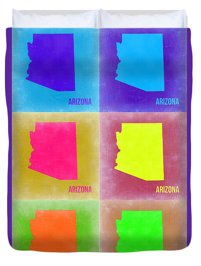 Arizona Map Duvet Cover featuring the painting Arizona Pop Art Map 4 by Naxart Studio