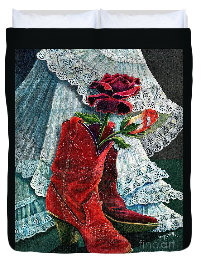 Red Boots Duvet Cover featuring the drawing Arizona Rose by Marilyn Smith