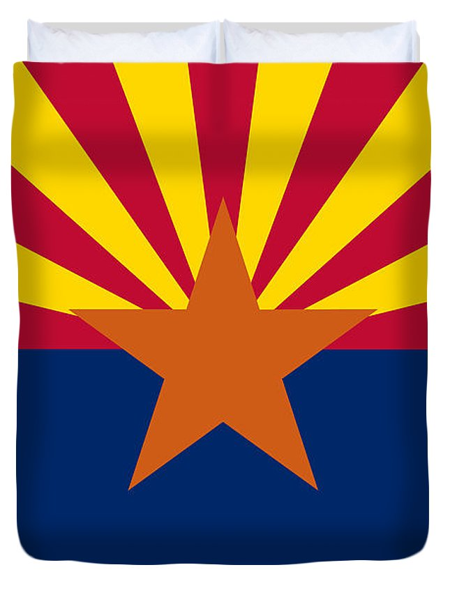 Arizona Duvet Cover featuring the digital art Arizona State Flag Authentic Color And Scale Version by Bruce Stanfield