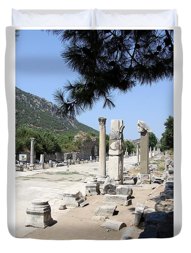 Ruins Duvet Cover featuring the photograph Arkadiane - Harbor Street Ephesus by Christiane Schulze Art And Photography