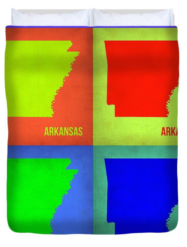 Arkansas Map Duvet Cover featuring the painting Arkansas Pop Art Map 1 by Naxart Studio