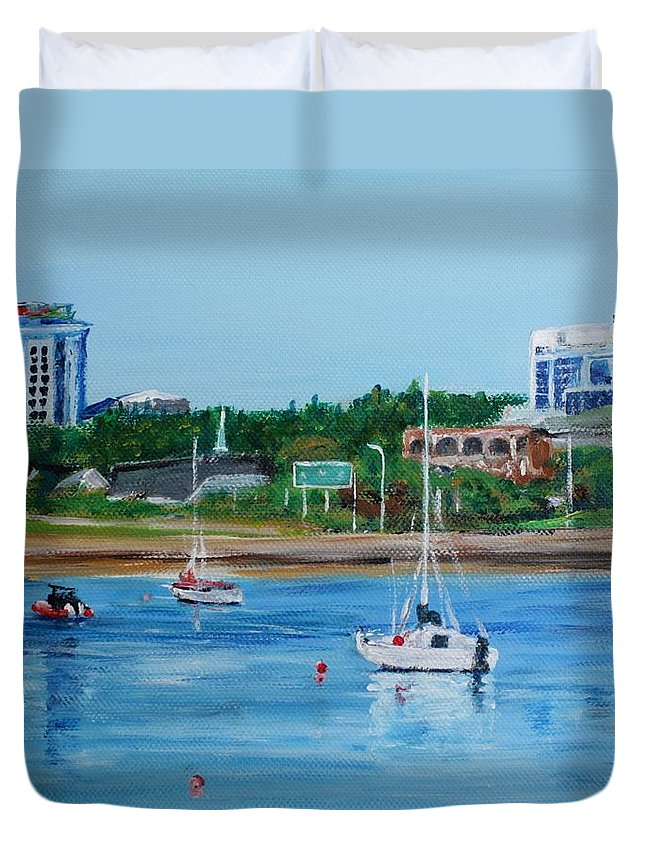 Sailboat Duvet Cover featuring the painting Armdale Traffic Circle by Donna Muller