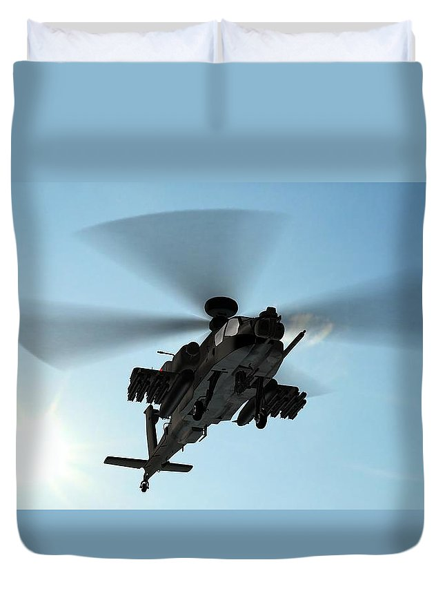 Wind Duvet Cover featuring the photograph Armed Longbow Apache Helicopter In by Bestgreenscreen