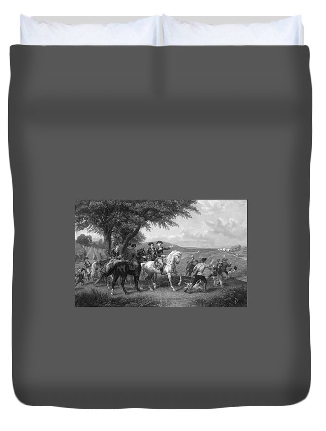 1780s Duvet Cover featuring the painting Army Wagon Train by Granger