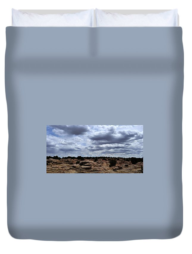 Landscape Duvet Cover featuring the photograph Around The Ranch by Pam Romjue