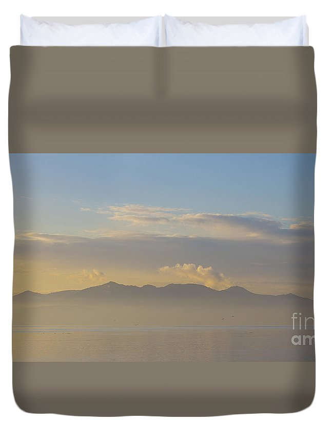 Arran Duvet Cover featuring the photograph Arran In Pastel Hazy Light by Liz Leyden