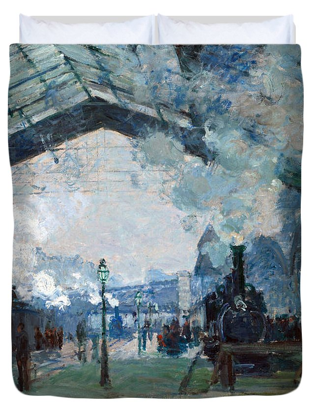 Claude Duvet Cover featuring the painting Arrival Of The Normandy Train Gare Saint-lazare by Claude Monet