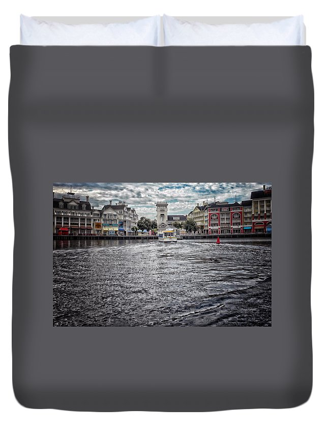 Boardwalk Duvet Cover featuring the photograph Arriving At The Boardwalk Before The Storm by Thomas Woolworth