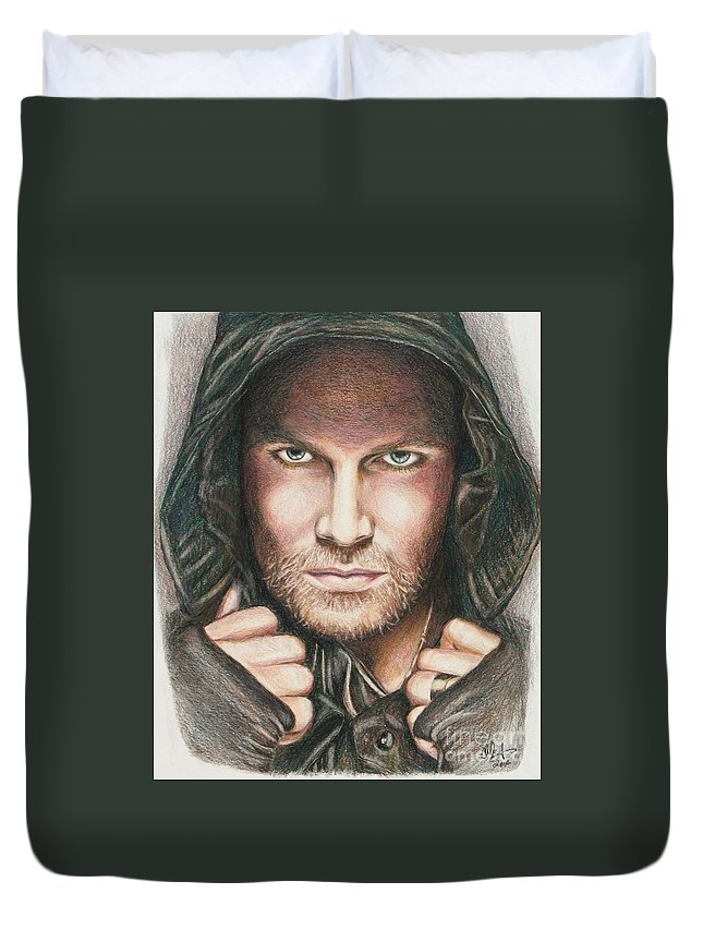 Arrow Duvet Cover featuring the drawing Arrow/ Stephen Amell by Christine Jepsen