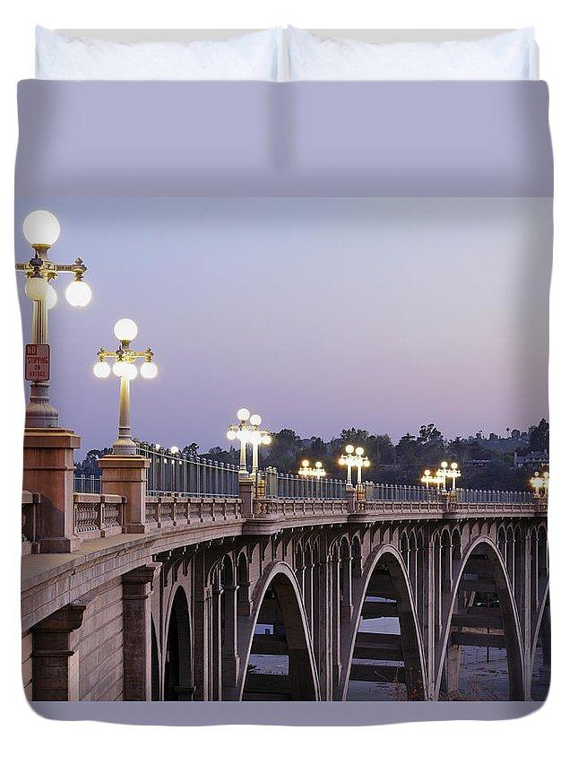 Arch Duvet Cover featuring the photograph Arroyo Seco Bridge Pasadena by S. Greg Panosian