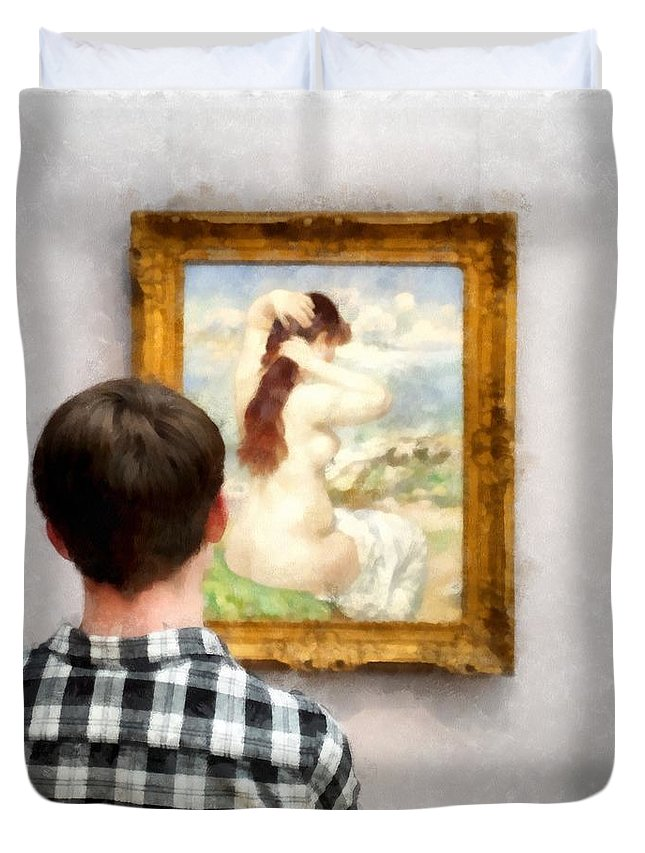 Boy Duvet Cover featuring the photograph Art Appreciation by Edward Fielding