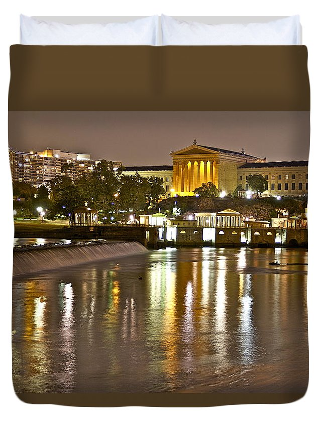 Art Museum Night Waterway Waterworks Philadelphia Scenic Philadelphian Duvet Cover featuring the photograph Art At Night by Alice Gipson