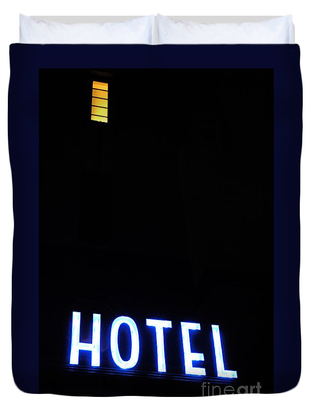 Neon Duvet Cover featuring the photograph Art Deco Miami 1 by Bob Christopher