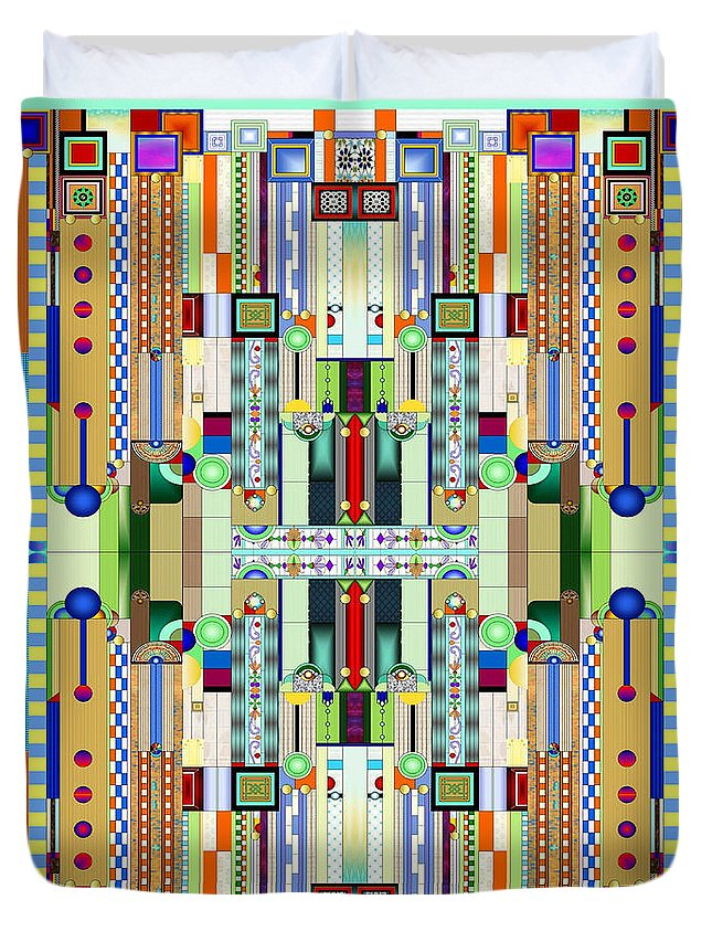 Art Deco Stained Glass Duvet Cover featuring the digital art Art Deco Stained Glass 2 by Ellen Henneke