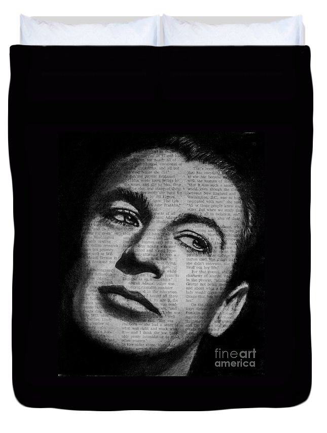 Gary Cooper Duvet Cover featuring the drawing Art In The News 35-gary Cooper by Michael Cross