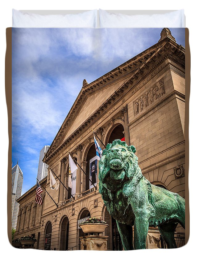 America Duvet Cover featuring the photograph Art Institute Of Chicago Lion Statue by Paul Velgos