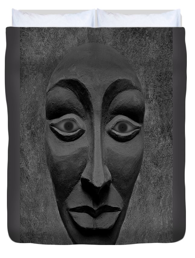 Mask Duvet Cover featuring the photograph Artificial Intelligence Entity Bw by David Dehner