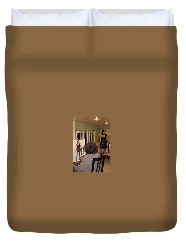 Ylli Haruni Duvet Cover featuring the photograph Artist At Work by Ylli Haruni