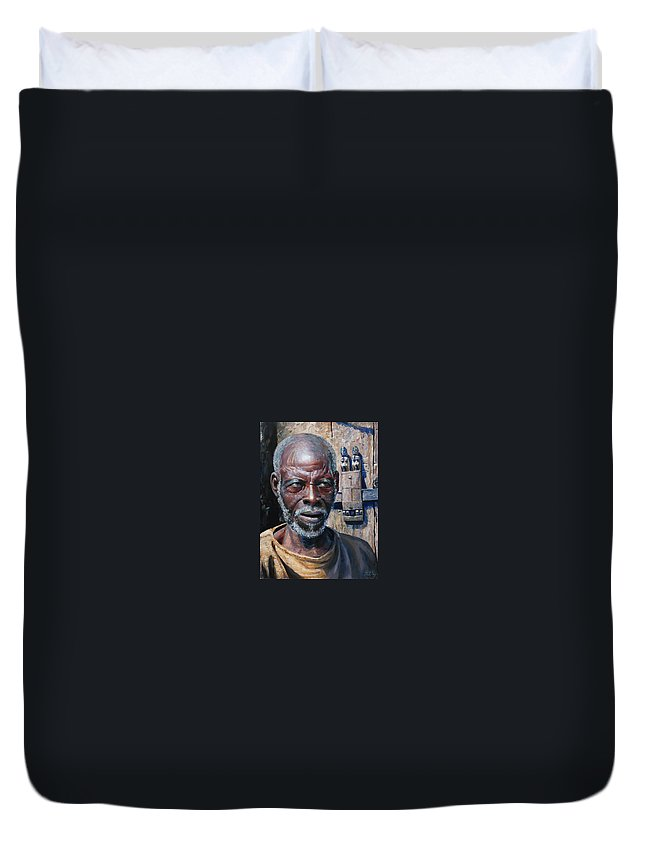 Portrait Duvet Cover featuring the painting Artist by Sefedin Stafa