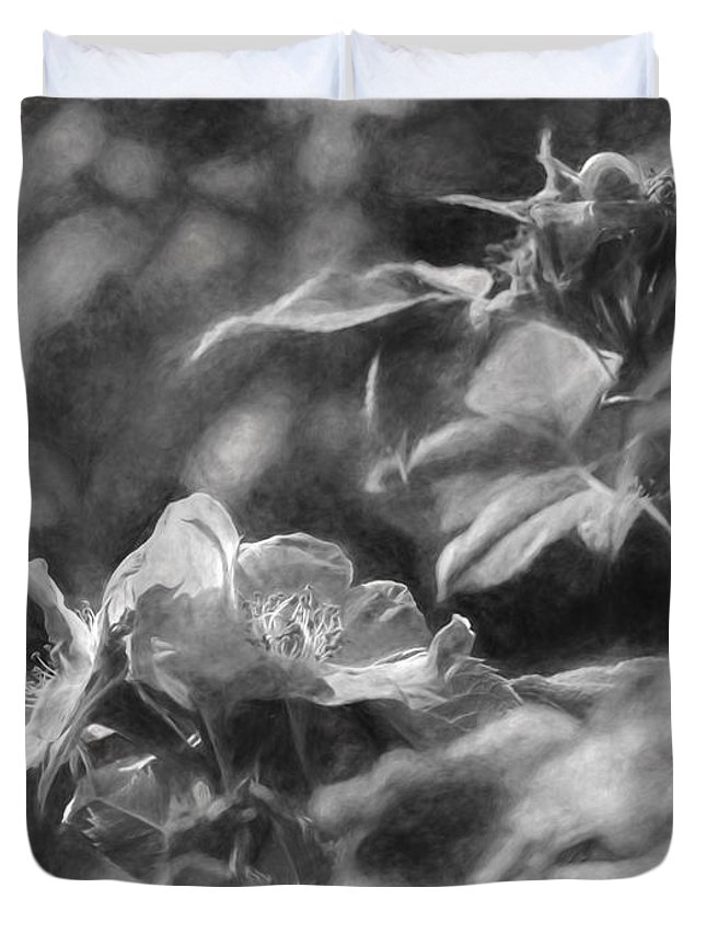 Artistic Duvet Cover featuring the photograph artistic painterly Black and white monochromatic two dogroses summer 2014 by Leif Sohlman