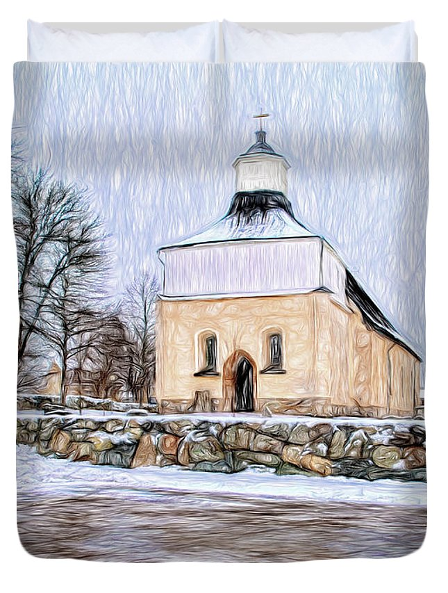 Pastel Duvet Cover featuring the photograph Artistic Presentation Of #svinnegarns #kyrka #church Of #svinnegarn March 2014 Viewed From The Parki by Leif Sohlman