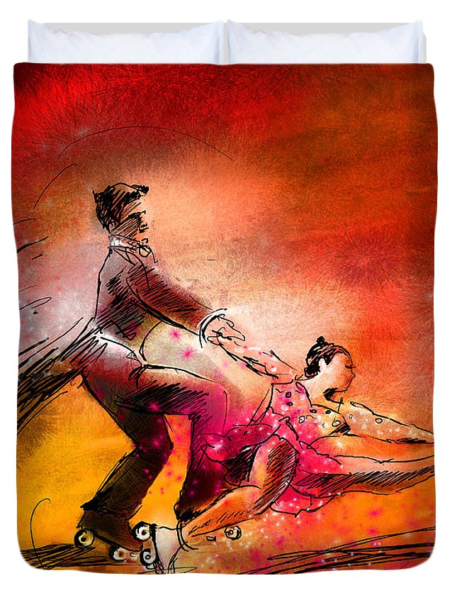 Sports Duvet Cover featuring the painting Artistic Roller Skating 02 by Miki De Goodaboom
