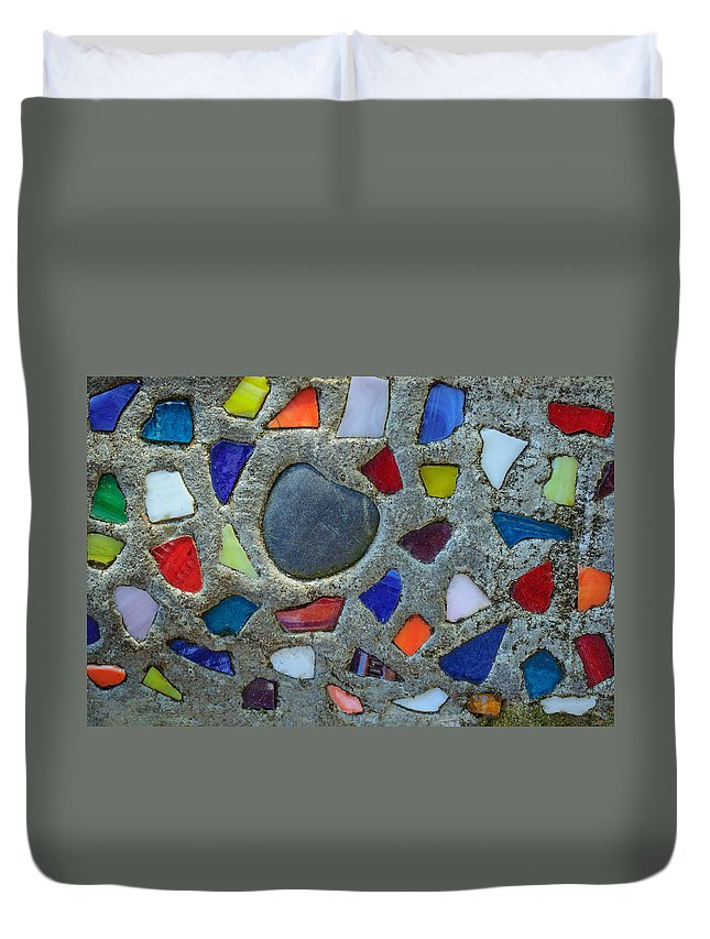 Glass Duvet Cover featuring the photograph Artsy Glass Chip Sidewalk by Tikvah's Hope