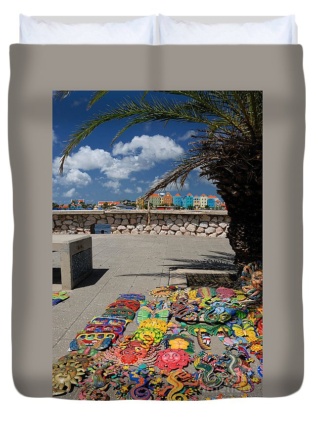 Willemstad Duvet Cover featuring the photograph Artwork At Street Market In Curacao by Amy Cicconi