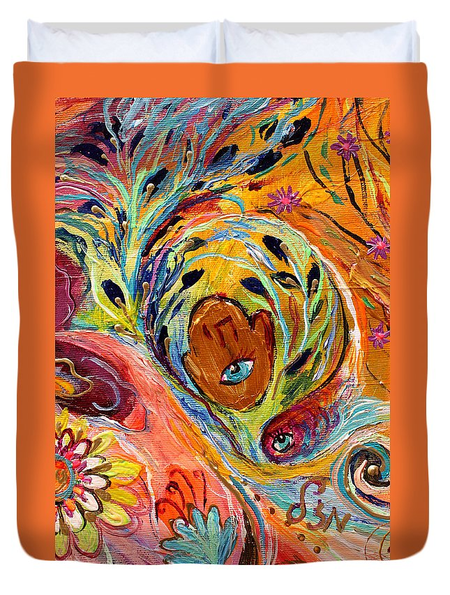 Jewish Art Prints Duvet Cover featuring the painting Artwork Fragment 58 by Elena Kotliarker