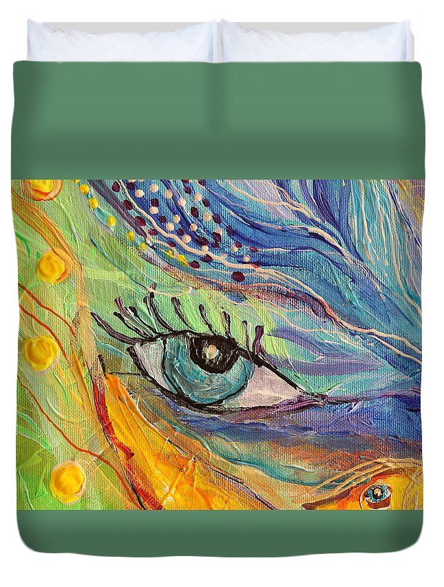Jewish Art Prints Duvet Cover featuring the painting Artwork Fragment 77 by Elena Kotliarker